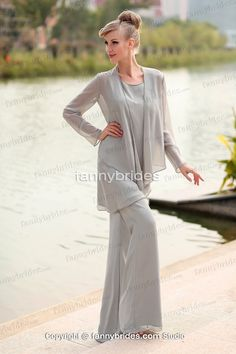 Cheap Refined Grey Chiffon 2013 Mother of the Bride Dress