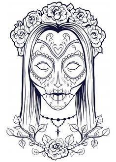 calaveras sugar skull day of the dead halloween free printable adult coloring