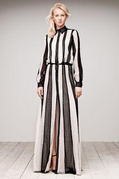 Long shirt dress with bold vertical stripes; chic striped fashion // Tadashi Shoji Resort 2015