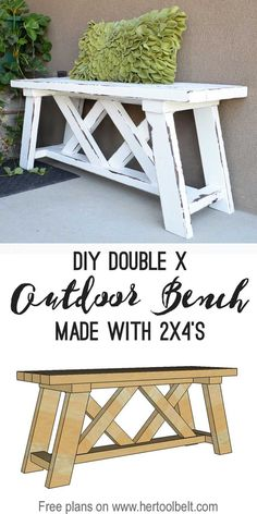 Build a very cute and easy double X bench made from 2x4's and 2x3's. Free build plans and link to tutorial. DIY outdoor bench