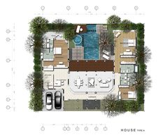Shaped House Plans on Is Ideal For The Pattaya Seaside Climate This U Shaped Home With