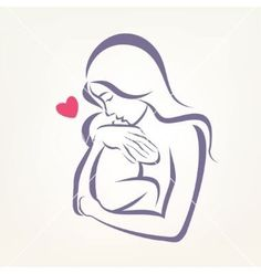 Mom and baby stylized symbol outlined sketch vector on VectorStock