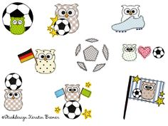 Doodle Eulen Fußball Stickdateien Set. Soccer owls ♥ Doodle appliqué embroidery designs for embroidery machines. #sticken #wm #sport #diy #eulenliebe #maschinensticken