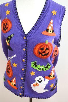 Halloween Purple Knit Sweater Vest Medium Witch Hat Skeleton Ghost Pumpkin Bat
