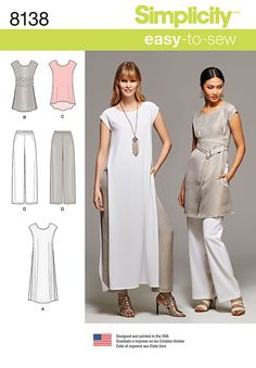 Sewing Top Simplicity Simplicity Pattern 8138 Misses' Easy-to-Sew Tunics and Pull-on Pants sewing pattern - New Look Patterns, Simplicity Sewing Patterns, Tunic Pattern, Pants Pattern, Clothing Patterns, Dress Patterns, Tunic Sewing Patterns, Patron Simplicity, Make Your Own Clothes