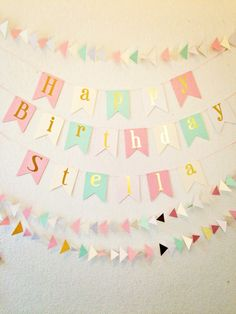 Happy Birthday Banner - Gold Foil Birthday Banner by PerfectLemonade on Etsy https://www.etsy.com/listing/221281979/happy-birthday-banner-gold-foil-birthday
