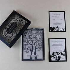 Material: paperboard.     We are a professional manufacturer in Laser cut Invitation card,Favors box, Place card, RSVP card,Table card etc.    Pattern:Tree with birds.    Default Status:invitation cards inner sheet envelope. | eBay!