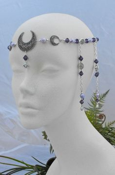 Purple Pearl Wiccan Pagan TRIPLE Moon Goddess Priestess CIRCLET 3485 | DawnHillDesigns - Clothing on ArtFire