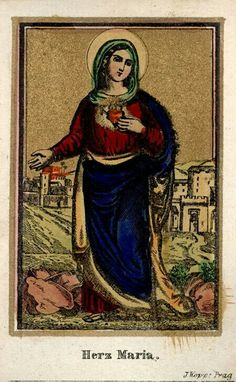 Herz Maria. A 19th century image of the Sacred Heart of Mary, printed in Prague.