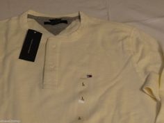 Men's Tommy Hilfiger long sleeve ribbed shirt S small 7841294 116 Fence White