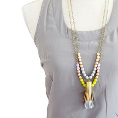 Tassel Necklace Long Leather Tassel by NestPrettyThingsShop