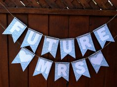 Future Mrs Bridal Shower Garland- Bridal Shower Banner- Bridal Shower Decor- Something Blue- Geometric Print- Wedding Decor- Photo Prop
