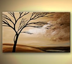 ORIGINAL Acrylic Abstract Modern Landscape Tree Painting Brown Cream by Osnat