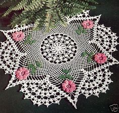 Vintage Crochet PATTERN to make Irish Rose Flower Doily Centerpiece RosePoints
