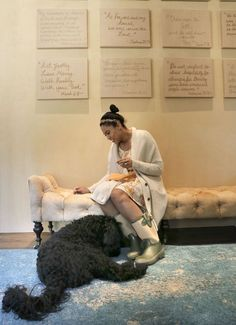 """Ayesha Curry wife of Warriors basketball star Stephen Curry with their labradoodle, """"Reza"""" in their Orinda, Calif. home, as seen on Tues. January, 20, 2015."""