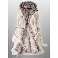 Rotita Womens White Faux Fur Inner Hooded Long Parka Coat (185 RON) ❤ liked on Polyvore featuring outerwear, coats, beige, long beige coat, beige coat, white parka, long parka and long coat