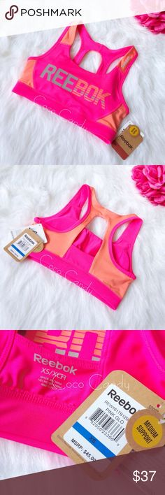 Reebok Bra Reebok Sports Bra  Size: X-Small  NEW WITH TAGS✨  Color: Hot Pink & Orange  Hot pink Reebok brand sports bra. Reebok printed on the front. Padded. Wear even on the days you're not at the gym. Moisture management fabric specially developed to wick moisture away from the skin. This bra will keep you dry, cool, & comfortable.   ⭐️No Trades ⭐️No Modeling ⭐️I Love Offers  ⭐️Fast Shipping+Free Gift ⭐️Check out my other listings ⭐️Save 10% on 3 item orders Reebok Intimates & Sleepwear…