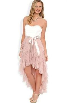 High Low Prom Dresses 2018 Strapless High Low Prom Dress with Ruched Bodice and Tendril Skirt Mobile Casual Homecoming Dresses, High Low Bridesmaid Dresses, Pink Wedding Dresses, Grad Dresses, Bridesmaids, Sweet 16 Dresses, Pretty Dresses, Banquet Dresses, Formal Dresses