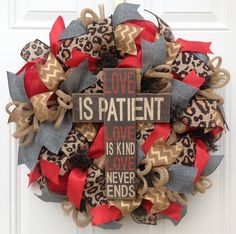 Burlap Chevron Wreath Deco Mesh Wreath by KaylasKreationsTX Christmas Mesh Wreaths, Deco Mesh Wreaths, Door Wreaths, Ribbon Wreaths, Yarn Wreaths, Winter Wreaths, Floral Wreaths, Prim Christmas, Spring Wreaths