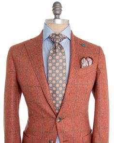 Eidos Napoli | Burnt Orange with Grey Windowpane Sportcoat | ApparelShak/ Contemporary | Men's