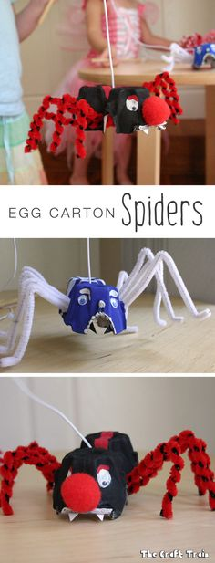 Halloween egg carton spider craft for kids