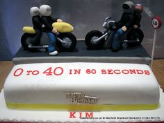 Motor cycle themed cake with modelled cyclists mounted on a large rectangular cake Motorbike Cake, Themed Cakes, Cycling, Sweets, Vehicle, Fun, Kids, Theme Cakes, Young Children