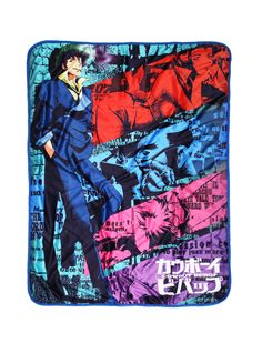 "Awesome throw blanket from <i>Cowboy Bebop</i> with a vibrantly colored  sublimation print design featuring Spike looking cool beside stylized images of Faye, Jet, Edward and Ein. The  flip side features a super soft blue fleece. <br><ul><li style=""list-style-position: inside !important; list-style-type: disc !important"">46"" x 60""</li><li style=""list-style-position: inside !important; list-style-type: disc !im..."