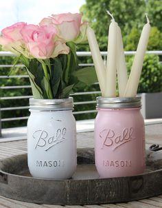 Painted Mason Jar  #ballmason #jar #masonjar #vintage #shabbychic #dawanda