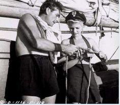 Errol Flynn and Rita Hayworth on his yacht