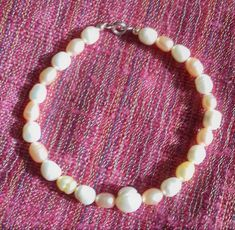 Peach, Yellow and White Cultured Freshwater Pearl Bracelet Freshwater Pearl Bracelet, Pearl Ring, Pearl Jewelry, Sterling Silver Jewelry, Yellow Rings, Pearl White, Beaded Necklace, Peach, Jewellery