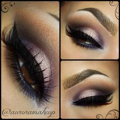 Shimmer White and Purple Smokey Eye Makeup - Winged Eyeliner - Lashes