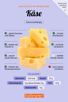 You should know about cheese eatsmarter.de # cheese # nutrition You should know about cheese eatsmarter. How To Stay Healthy, Healthy Life, Healthy Nutrition, Healthy Recipes, Cheese Nutrition, Nutrition Shakes, Low Carb High Fat, Gym Food, Food Food