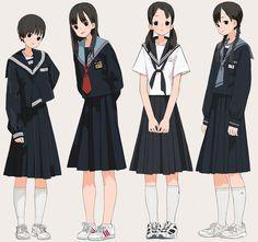 Sailor Outfits, Anime Outfits, Girl Outfits, Anime Uniform, Japan Fashion, Kids Fashion, Manga Poses, Anime School Girl, Japanese School Uniform