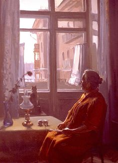 "Evgeny and Lydia Baranovs from the ""Moscow Windows"" series, ""Winter Day Between the Curtains"""