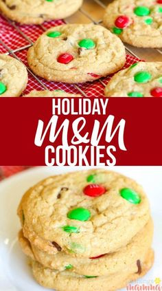 Christmas M&M Cookies – All Things Mamma The BEST M&M cookies- chewy and soft with crispy edges, these M&M Cookies will quickly become a family favorite! Easy Christmas Cookie Recipes, Easy Cookie Recipes, Fudge Recipes, Holiday Cookies, Christmas Desserts, Holiday Recipes, Dessert Recipes, Christmas Parties, Family Christmas
