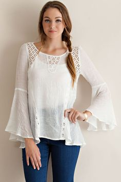 This off-white wide hem long sleeve bell sleeve top is REALLY cute. It looks great with a pair of jeans and boots, or your favorite pair of flip-flops. This one will definitely get compliments. 100% R