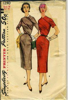 Vintage Simplicity 1240 UNCUT Misses One Piece Dress with Diagonal Seam Details Sewing Pattern