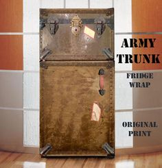 Vintage Army trunk Full refrigerator wrap sticker Army, man cave - Rm wraps Store - 1