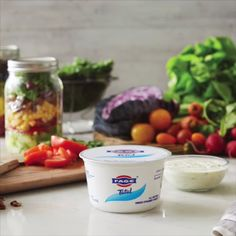 Shake up your lunch routine! For a thick and creamy salad dressing that's packed with protein and flavor – start with FAGE Total Greek yogurt.