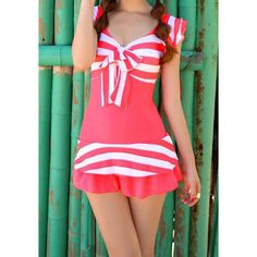 $14.04 Romantic Striped Flounce Bowknot One-Piece Swimsuit For Women