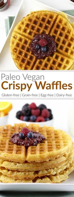 These are the paleo vegan waffles you've been waiting for. Light, crispy and perfectly golden brown. Top with pure maple syrup and fresh fruit for the most heavenly breakfast you can imagine. | The Real Food Dietitians | http://therealfoodrds.com/crispy-grain-free-waffles/