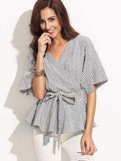 Black And White Stripe Bow Wrapped Blouse -SheIn(Sheinside) Mobile Site
