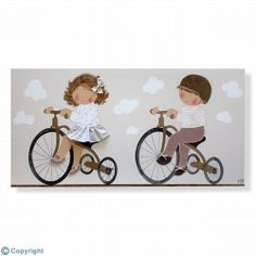 Cuadro infantil personalizado: Niños en triciclo (ref. 12078-01)