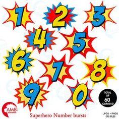 Superhéroe números Imágenes Prediseñadas imágenes