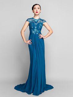 Sheath/Column Jewel Sweep/Brush Train Chiffon And Sequined Evening Dress (944181) - USD $129.99