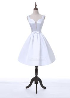 Ailsa Fashion Vintage A-Line Sweetheart Sheer Insert White Homecoming Party Dress