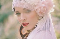 | Veil | Lace | Headpiece | Purple | Pink | Flower | Head Piece | Bridal Headband | Bride | Beading | Pearls