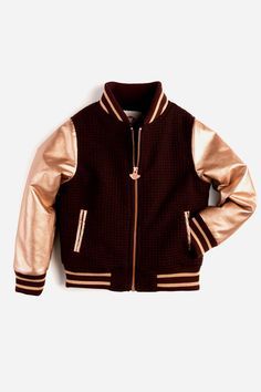 Appaman has designed a varsity style jacket for girls this Fall in a gold and burgundy color combination. Features a zippered front and elasticized waist and cuffs. Pair with the Nicole Skirt and Monr