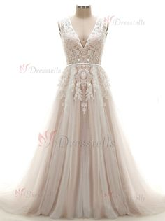 A-line Wedding Dress - V-neck Long Tulle Appliques Sequins Sleeveless Zipper-up