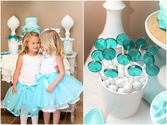 Mermaid Birthday Aqua Lollipops - 12 Bubble Gum flavor favors for mermaid party